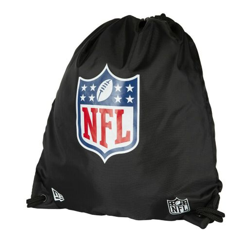 NEW ERA DRAWSTRING BAG.NFL BLACK FOOTBALL PE GYM SHOE DUFFLE BACKPACK SACK.9S 33
